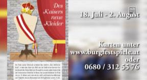 Ankündigung Burgfestspiele Reichenau – Des Kaisers neue Kleider – Stück für Kinder