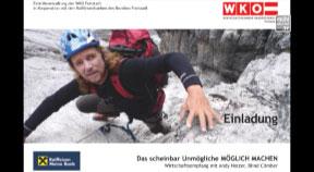 Ankündigung Wirtschaftsempfang mit blinden Extrembergsteiger Andy Holzer