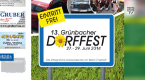 Ankündigung Grünbacher Dorffest 2014 mit Hausmesse Kopplinger