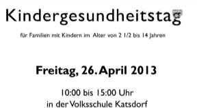 Einladung zum Kindergesundheitstag in Katsdorf