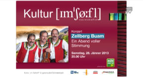 Ankündigung Zellberg-Buam in Engerwitzdorf