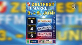 Ankündigung Zeltfest der FF Marreith, St. Oswald bei Freistadt am 3.5.2016