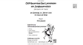 Ankündigung ÖVP-Bauernball in Bad Leonfelden