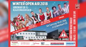 Ankündigung Winter Open-Air 2018 am Samstag, 6. Jänner in Schweinbach